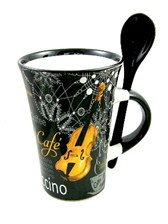 CAPPUCCINO MUG WITH SPOON Violin (Black)