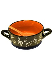 BOWL WITH SPOON Music Note (Orange)