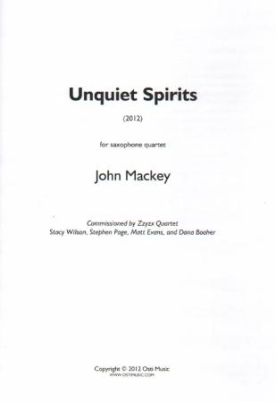 UNQUIET SPIRITS (score & parts)