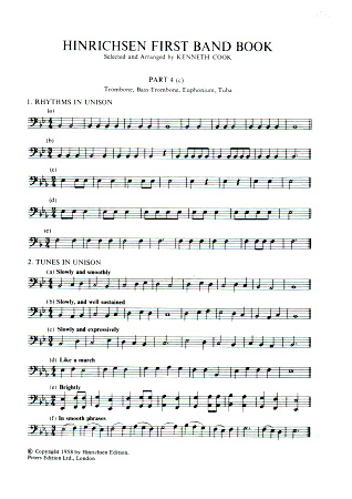 HINRICHSEN FIRST BAND BOOK Part 4 in C (bass clef)