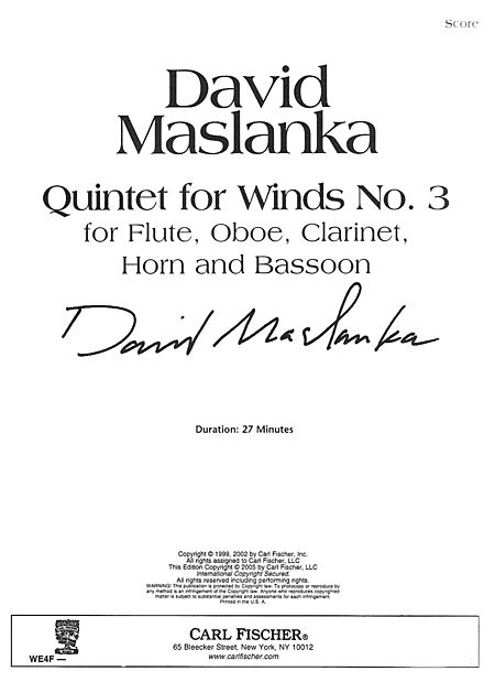 QUINTET FOR WINDS No.3 (score)