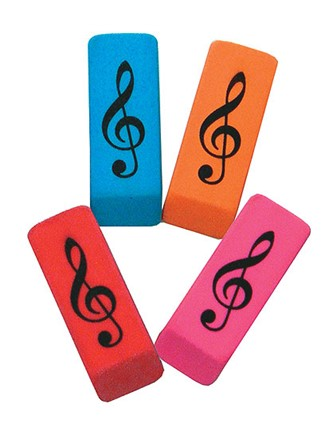WEDGE ERASER Treble Clef (Pack of 10 - Assorted Colours)