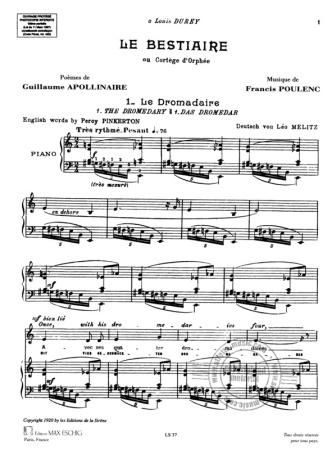 LE BESTIAIRE or 'Cortege d'Orphee' Vocal Score