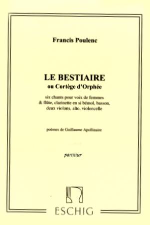 LE BESTIAIRE or 'Cortege d'Orphee' Score