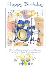 BIRTHDAY CARD Drums Design (7in x 5in)