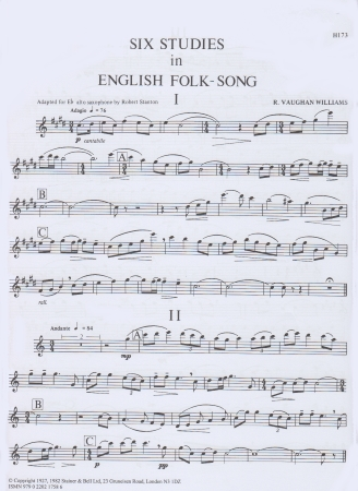 SIX STUDIES IN ENGLISH FOLKSONG Alto Saxophone part
