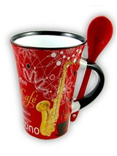 CAPPUCCINO MUG WITH SPOON Saxophone (Red)