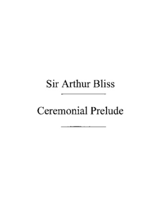 CEREMONIAL PRELUDE score and parts