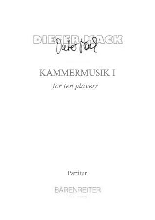 KAMMERMUSIK I for Ten Players (score)