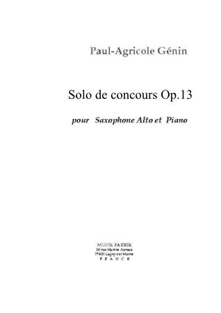 SOLO DE CONCOURS Op. 13