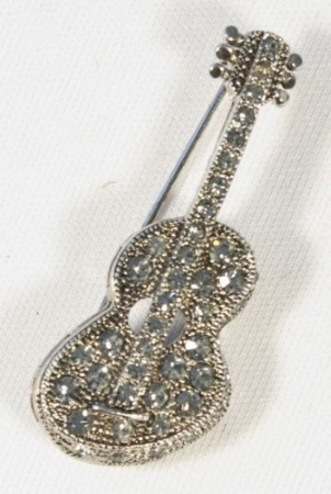 BROOCH Acoustic Guitar (Clear Crystals/Pewter Finish)