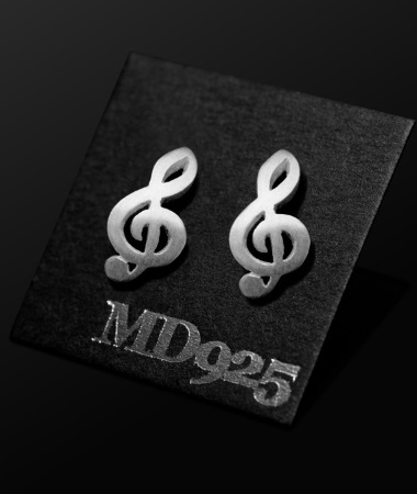 STERLING SILVER EARRINGS Treble Clef