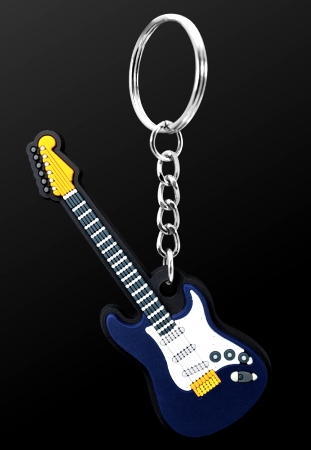 INSTRUMENT KEYRING Electric Guitar (Blue)