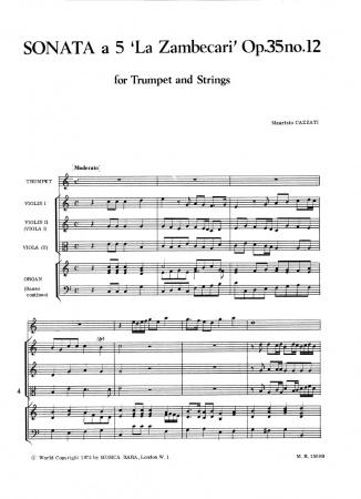 SONATA a 5 in C major Op.35 No.12, 'La Zambecari' (score & parts)