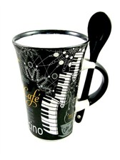 CAPPUCCINO MUG WITH SPOON Piano (Black)