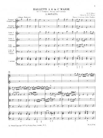BALLETTI a 6 in C major (score & parts)
