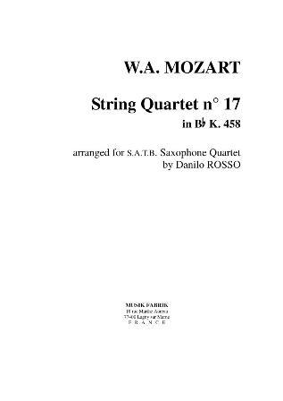 STRING QUARTET No.17 in Bb major