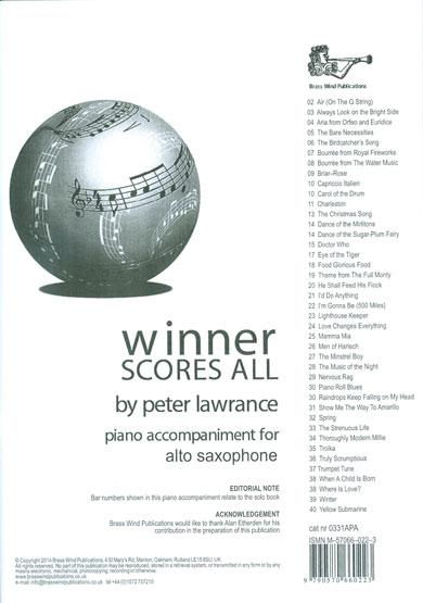WINNER SCORES ALL Piano Accompaniment (Eb Edition)