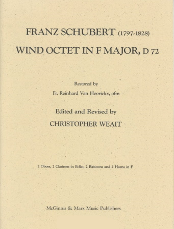 WIND OCTET in F major D.72 (set of parts)