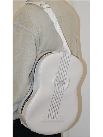 ACOUSTIC-STYLE SHOULDER BAG with Built-in Rechargeable Speaker (White)