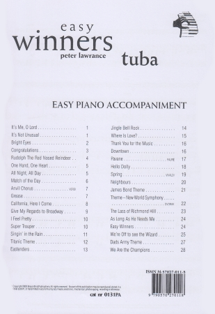 EASY WINNERS Easy Piano Accompaniment