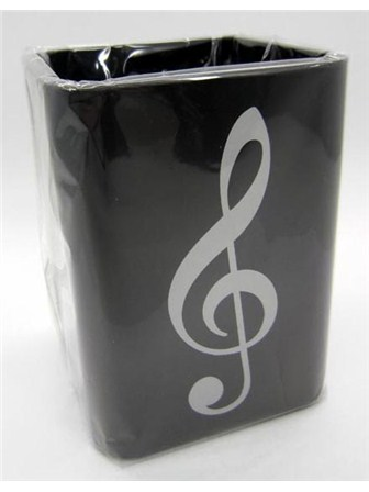 PEN HOLDER Silver Treble Clef, Square Plastic