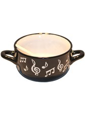 BOWL WITH SPOON Music Note (White)