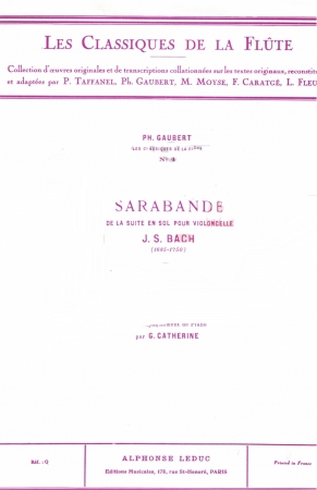 SARABANDE from the Suite in G  ('cello)