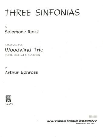 THREE SINFONIAS (score & parts)