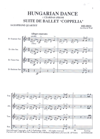 HUNGARIAN DANCE: CZARDAS from 'Coppelia'