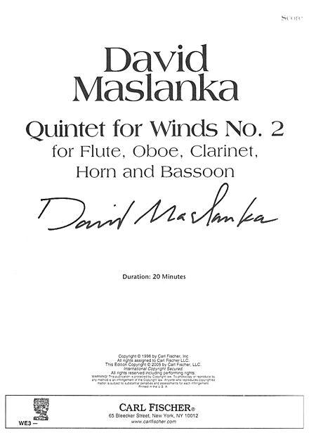 QUINTET FOR WINDS No.2 (score)