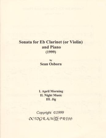 SONATA for Eb Clarinet