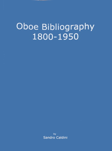 OBOE BIBLIOGRAPHY 1800-1950