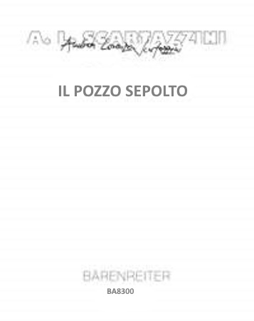 IL POZZO SEPOLTO (score & parts)