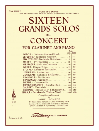 SIXTEEN GRANDS SOLOS DE CONCERT Clarinet part