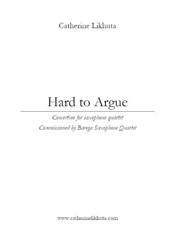 HARD TO ARGUE (score & parts)