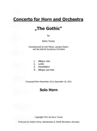 CONCERTO for Horn & Orchestra 'The Gothic'