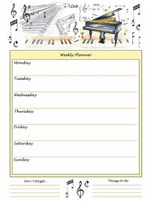 A4 WEEKLY PLANNER Piano Design