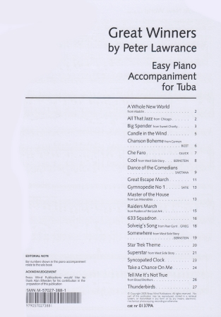 GREAT WINNERS Easy Piano Accompaniment Tuba/Eb bass