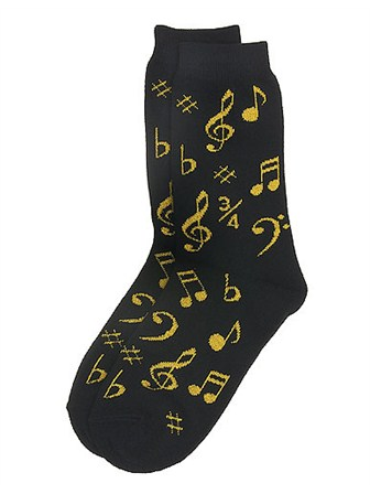 WOMEN'S SOCKS Notes (Black/Gold)